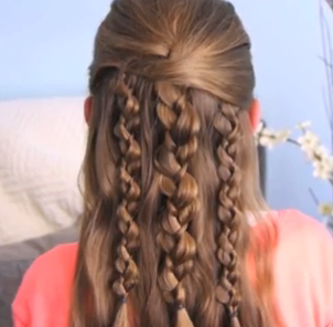 Half-Up Half-Down Textured Braids Hair Tutorial for girls