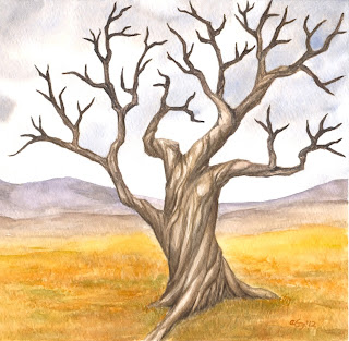 watercolor tree painting, gnarled tree art, twisted tree painting, leafless tree, bare tree, gnarled winter tree, tree watercolor, old tree watercolor, dead tree painting