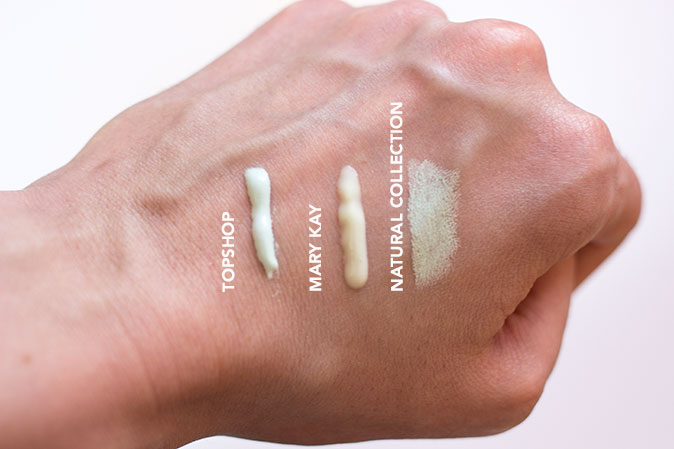 swatches of topshop colour correct primer