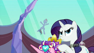 Rainbow slides down the roof as Rarity wonders what's going on