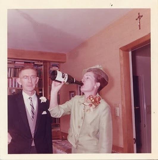 Celebratory Champagne guzzling vintage