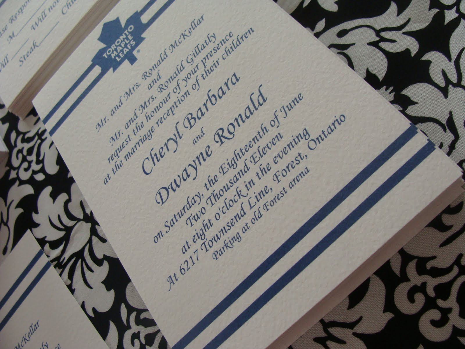 Toronto Maple Leafs Themed Wedding! | Paper Romance Wedding Invitations