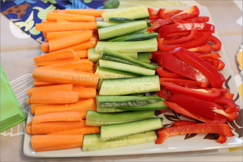 Vegetable sticks dinosaur party food