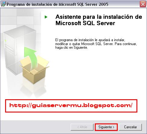 Interfaz de instalación del sql server 2005