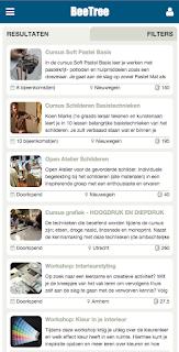Zoekresultaten op mobiele versie van BeeTree