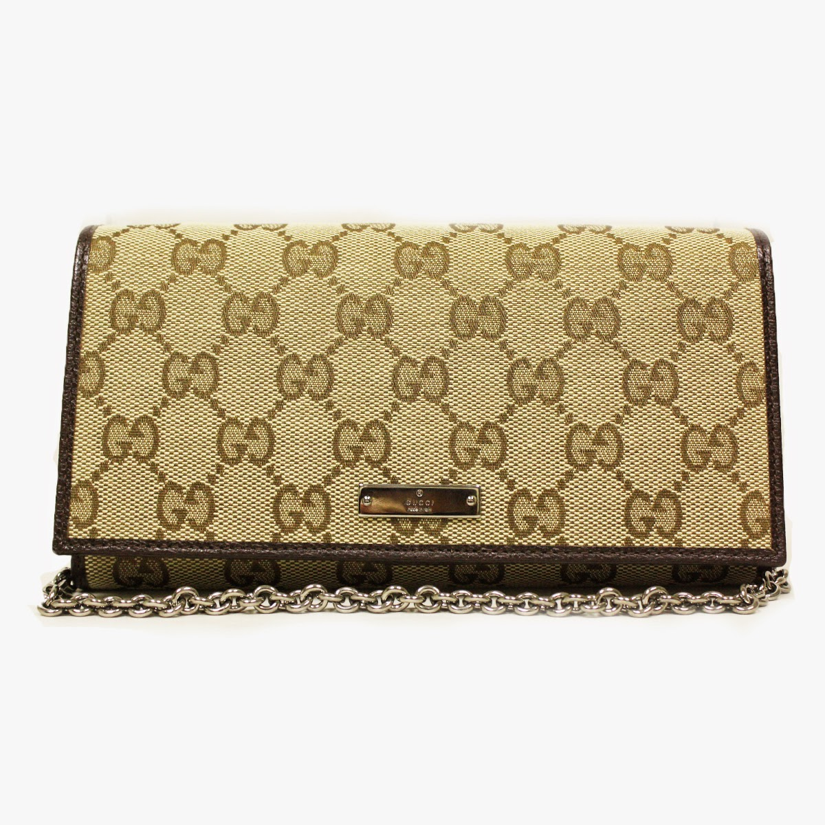 Gucci 170426 Gucci GG Logo Brown Leather and Canvas Chain Wallet