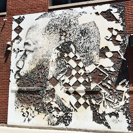 "VHILS street artist ""Scratching the Surface"" Portrait of Joe Freshgoods"