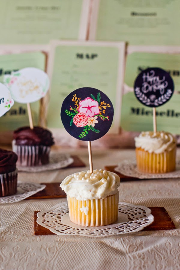 Cupcake Toppers by Happiness is... at the Durban Alternative Wedding Fair