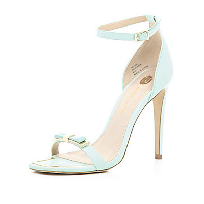 River Island Barely there mint heels with bows