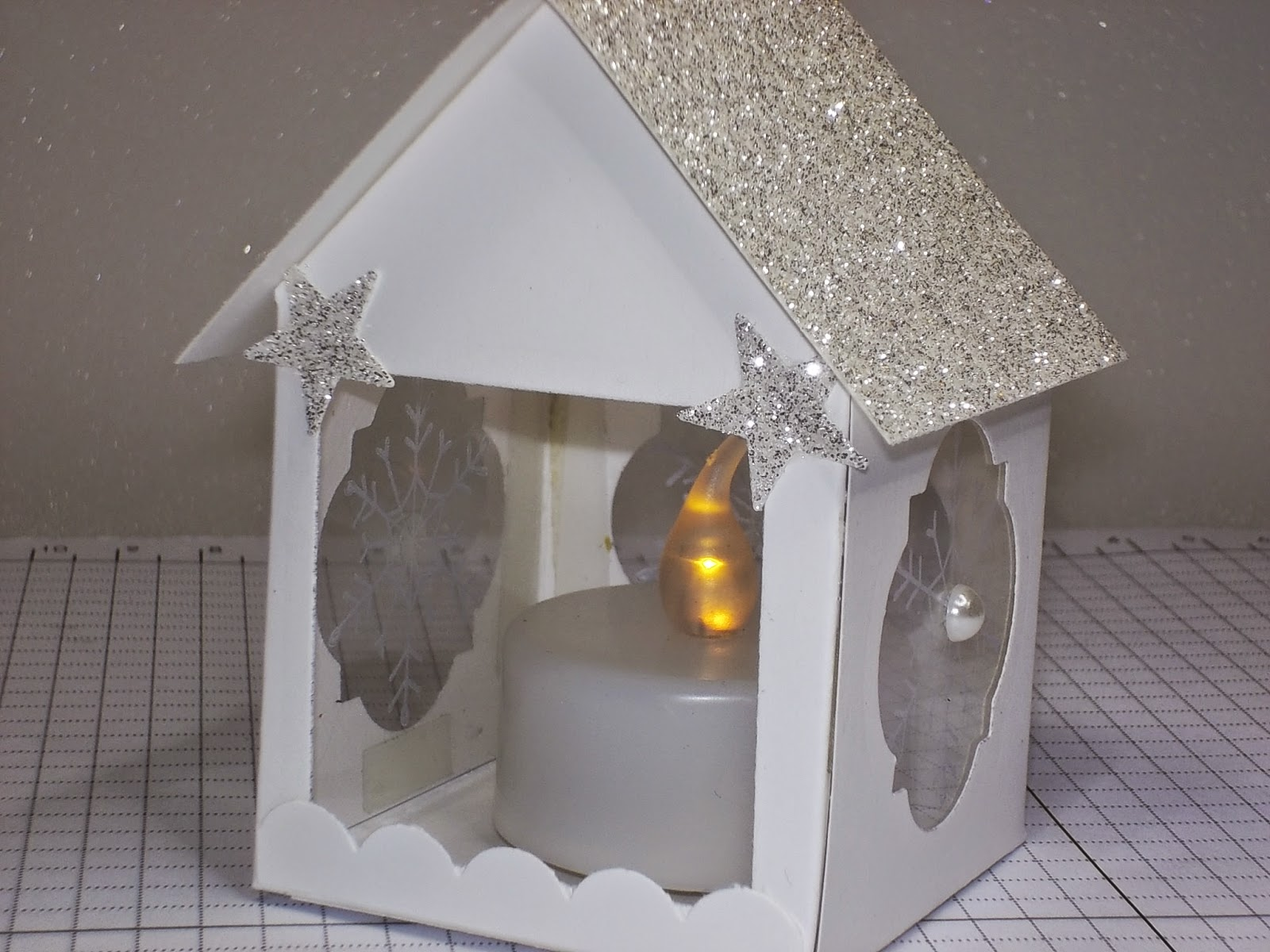 Cute House Tealight holder and silver glimmer paper