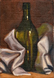 Oil painting of a green flat-bottomed torpedo bottle stood upright and partially wrapped in a white tea towel.