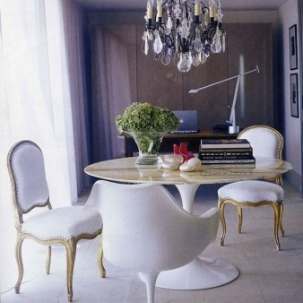 The Green Room Interiors Chattanooga TN Interior Decorator Designer - Traditional dining table with contemporary chairs