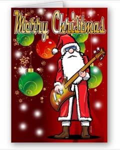Art And Technology Rock Guitar Santa Christmas Card