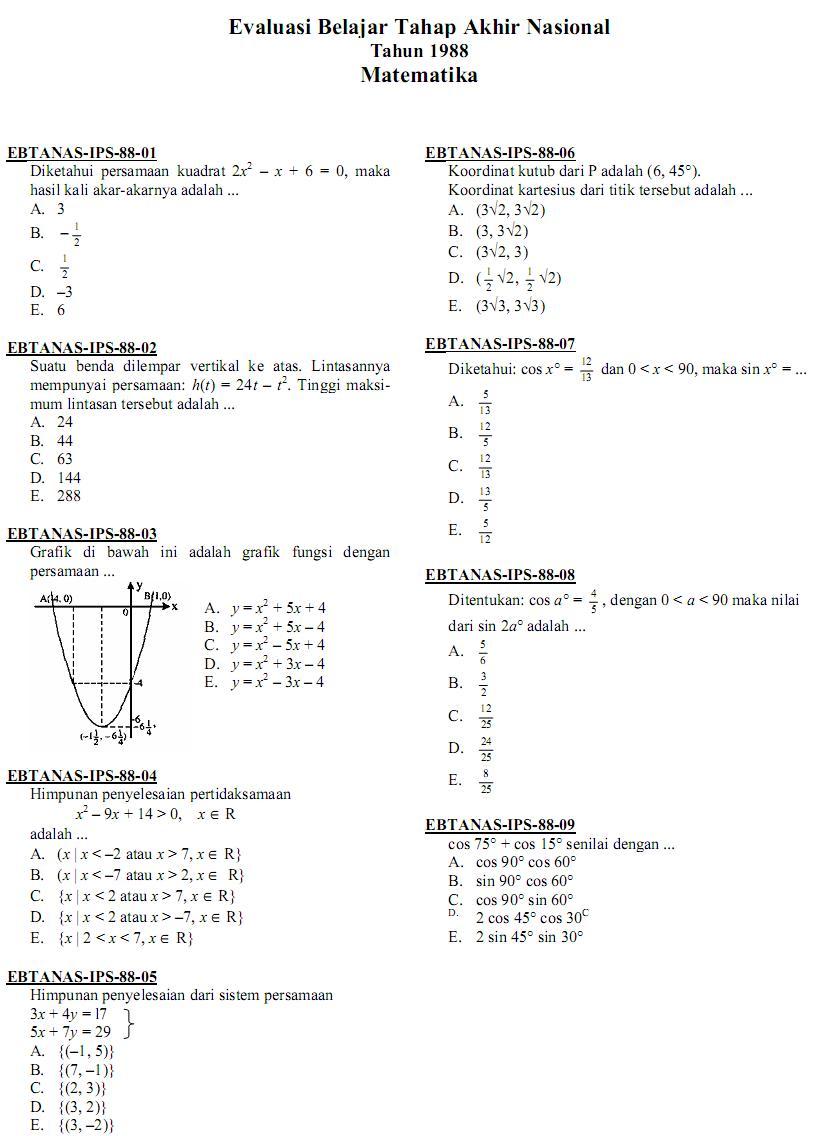 Matematika Di Sma Soal Ujian Nasional Matematika Ips Sma Ma 1988