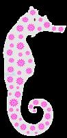 Cavalo marinho floral - Criação Blog PNG-Free