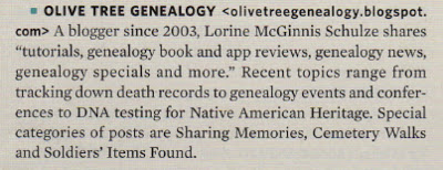 Olive Tree Genealogy Blog in Top 40 for 2013 in Family Tree Magazine