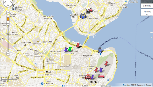 Map for mini guide to Istanbul