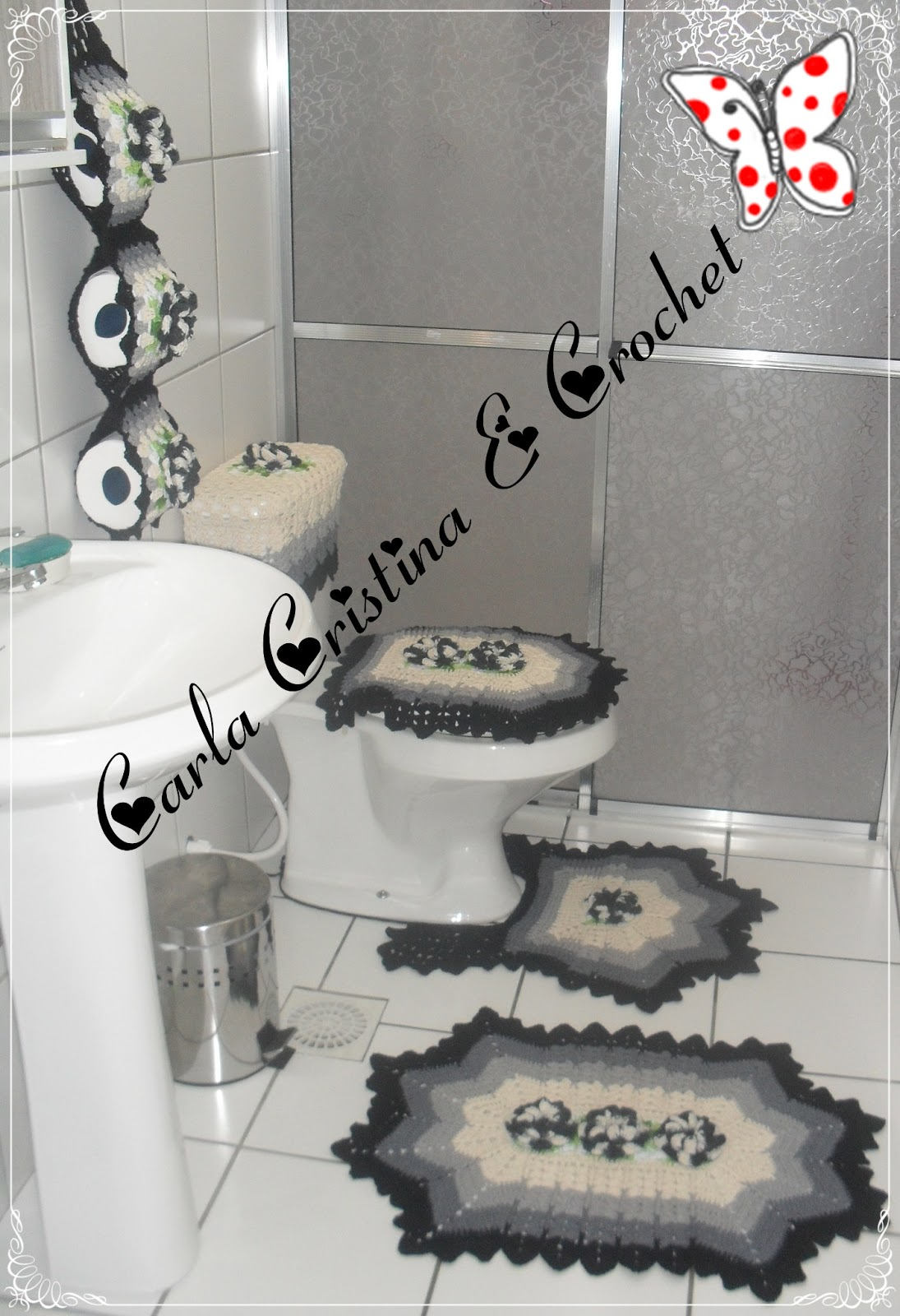 banheiro utilizei os seguintes materias barbante Crú Nº6 Cinza #C40707 1095 1600
