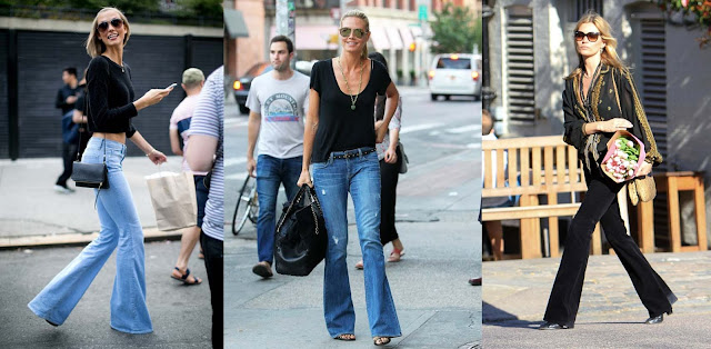 Karlie Kloss, Heidi Klum and Kate Moss in flared jeans featured on Addictions of a fashion junkie