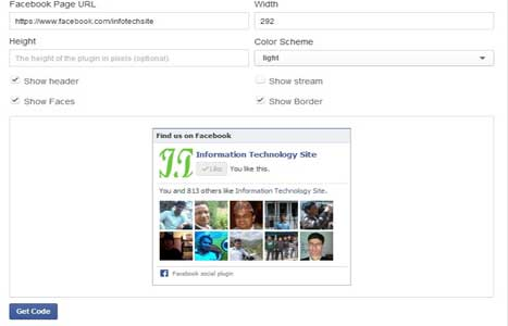 Facebook page configuration