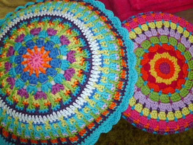 Crochet Mandala Cushion Almost Finished