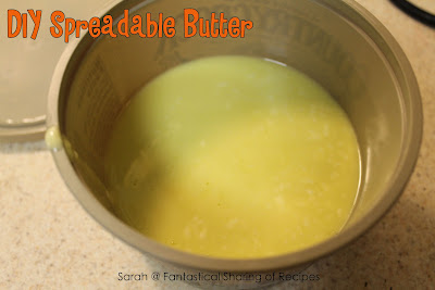 DIY Spreadable Butter. Quick, easy, inexpensive, and YOU control what goes in. #DIY #homemade #butter