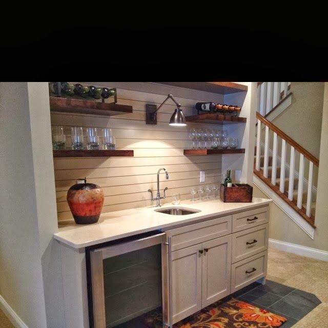 Wet Bar with Open Shelves