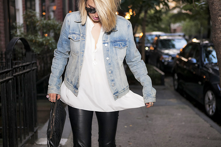 Fashion Over Reason, Gap light wash jean jacket, denim, white silk