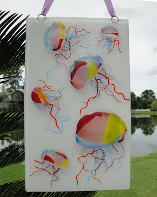 fused glass jellyfish hanging rainbow color flutterbyfoto flutterbybutterfly