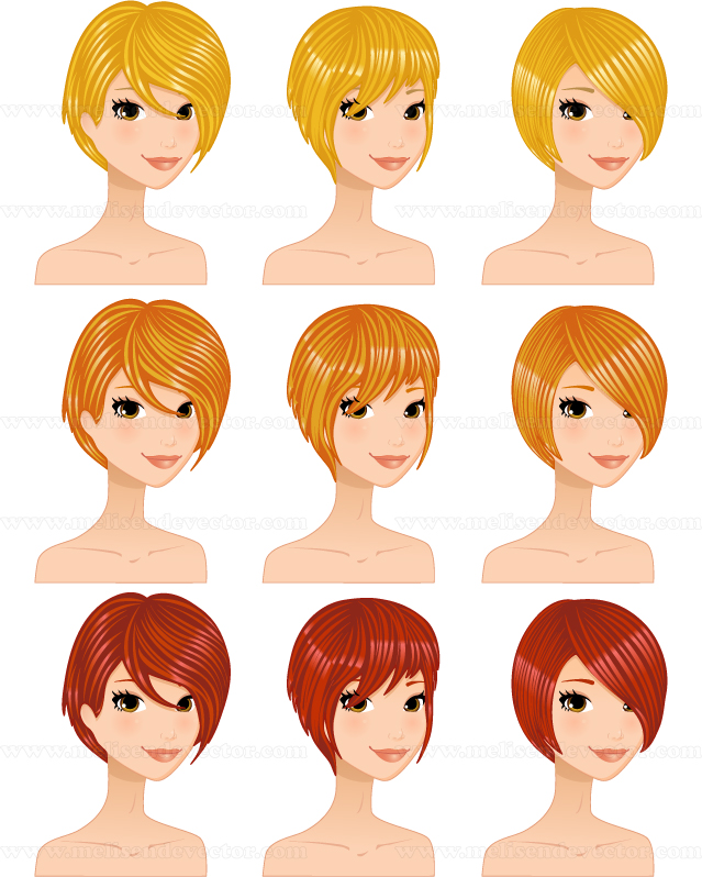 Color schemes hairstyles set