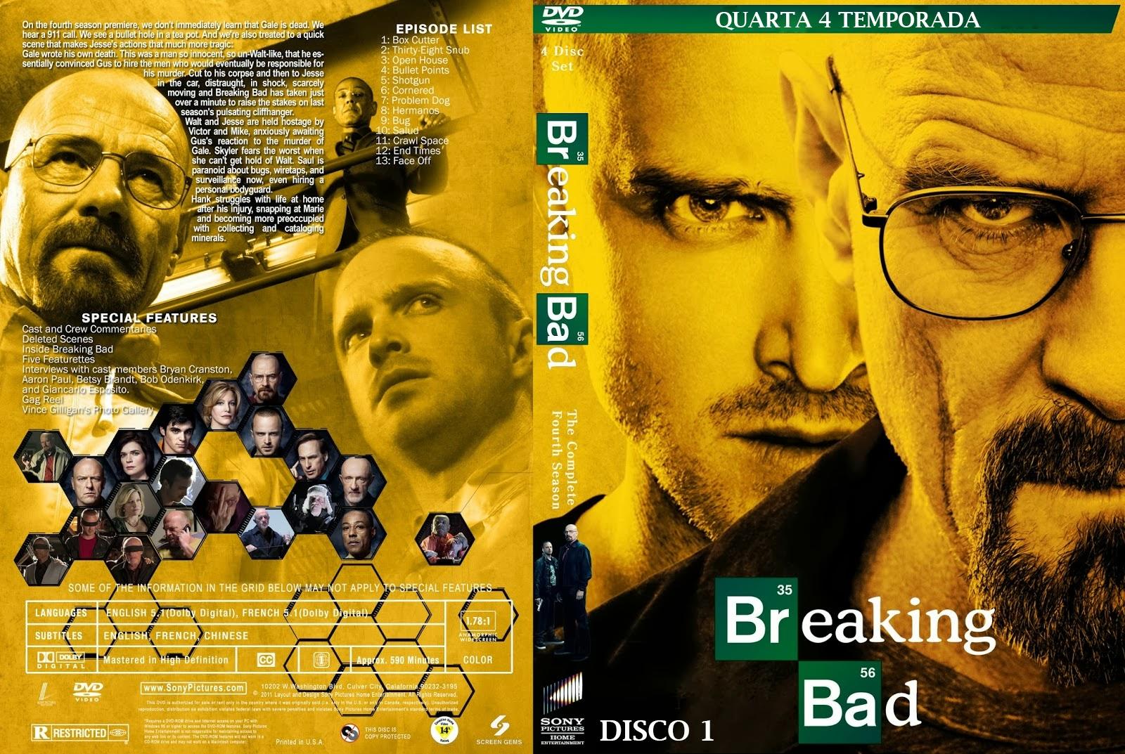 BREAKING BAD 4ª TEMPORADA DISCO: 1, 2 E 3 ~ ZICA TOP CAPAS