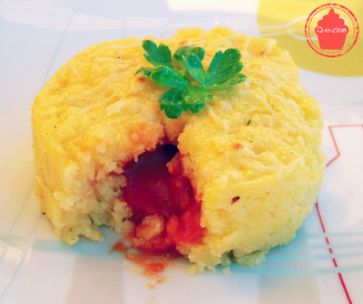 polenta coeur coulant tomate coulis surprise