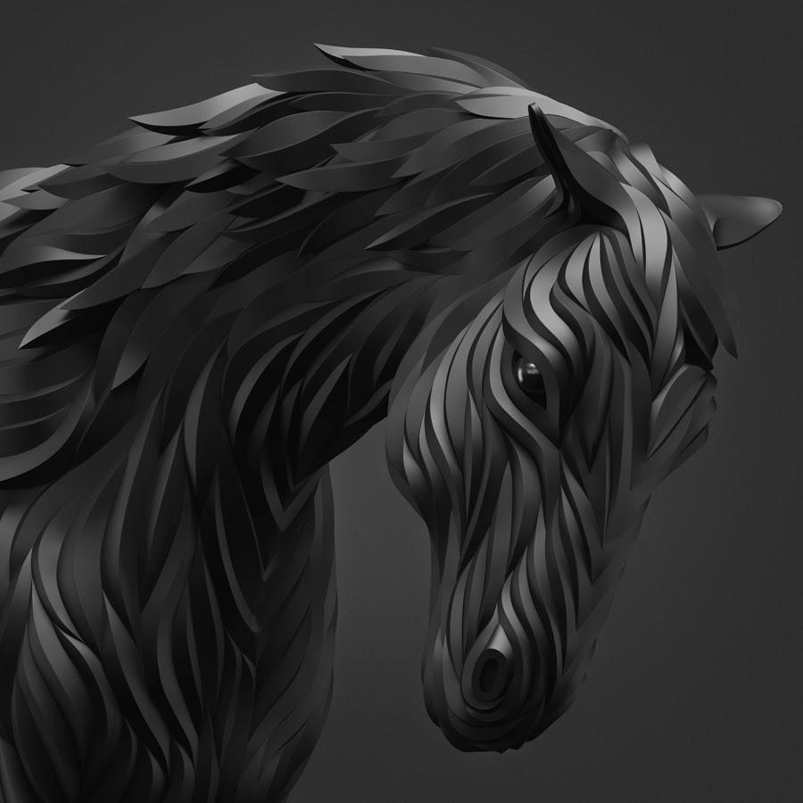 03-Black-Horse-Maxim-Shkret-Digital-Origami-Animal-Art-www-designstack-co