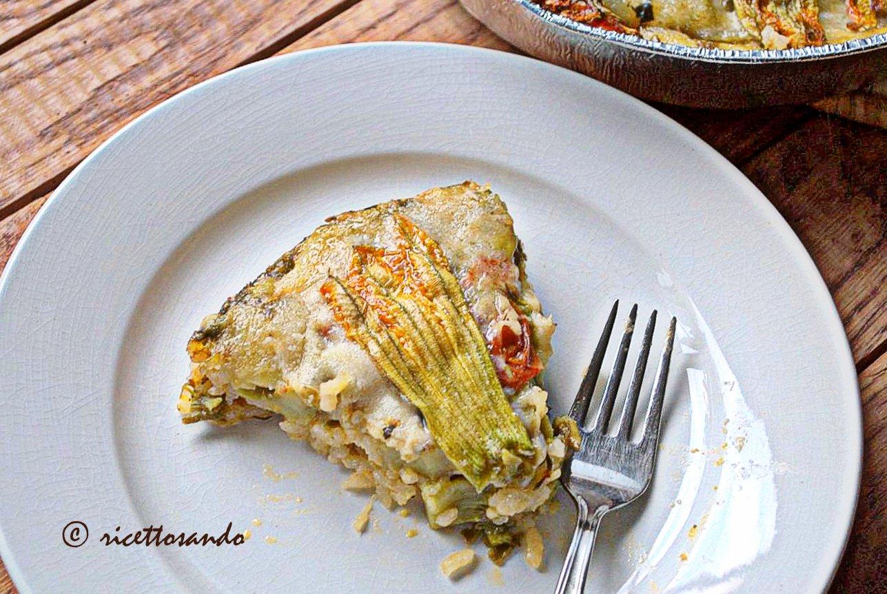 Timballo di riso con tenerumi e fiori di zucchina ricetta piatti vegetariani