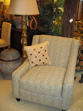 Greek Key Print Accent Chair