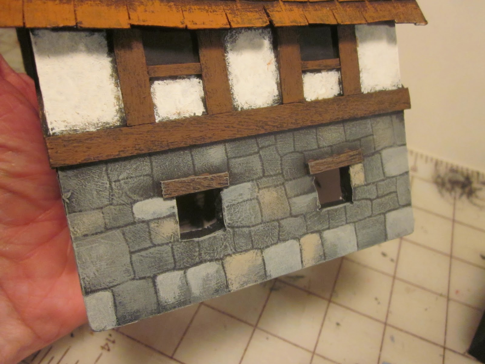 How to paint a half timber model house