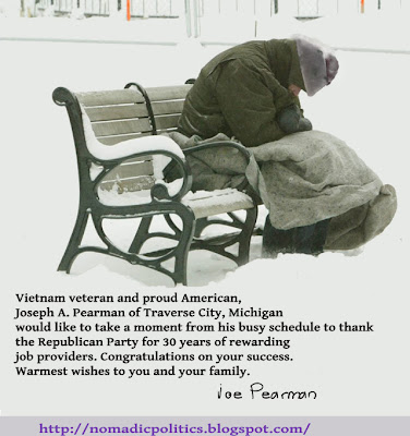 Republican Party Homeless Veteran Trickle Down