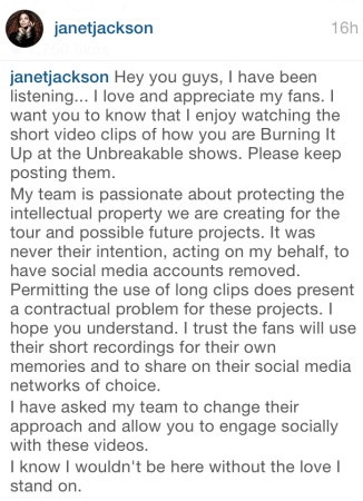 Janet Jackson apologizes to fans who had instagram accounts deactivated for loading her video