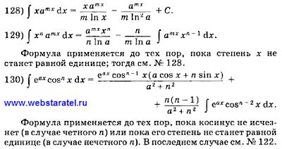 Таблица интегралов. Формулы интегрирования. Математика для блондинок.