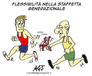 Poletti, pensioni, flessibilità, satira vignetta