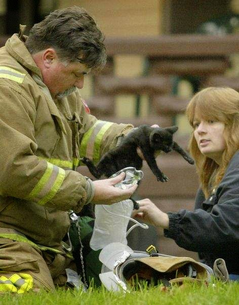 Melissa ... with a fireman helping animals