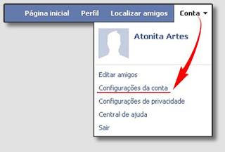 Imagem - configurações conta Facebook