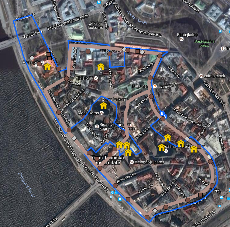 Short Riga walking routes with printable maps