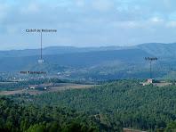 Panoràmica vers el sud-oest, amb el Castell de Balsareny i els masos de Vilagaià i Argelaguers