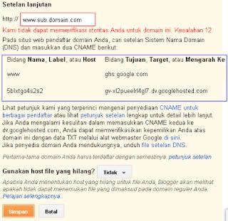 kode cname blogger
