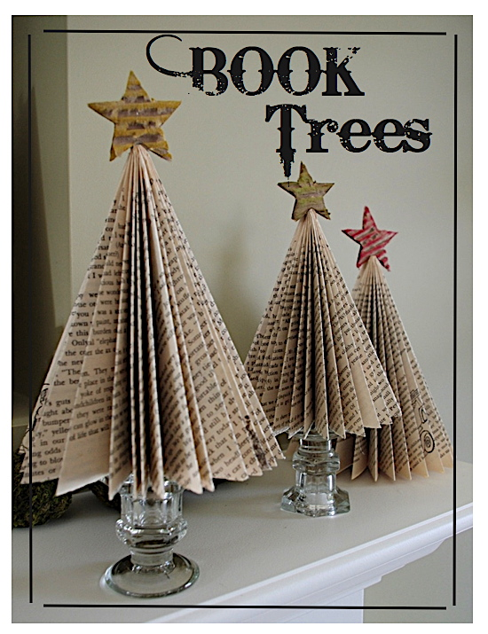 Creative try als book tree tutorial for Christmas tree made from old books
