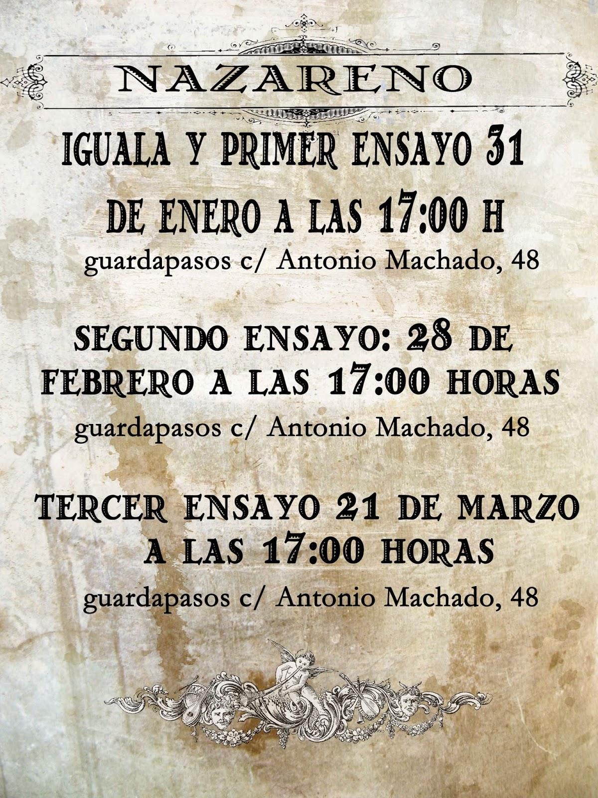 Calendario Ensayos Nazareno