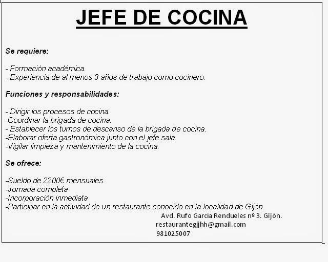 Recursos humanos en restauraci n ofertas de trabajo - Ofertas de empleo jefe de cocina ...