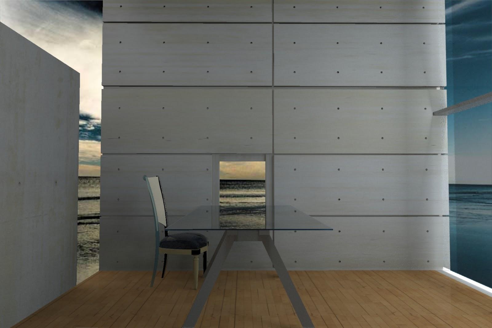 Project 2b Interior Render Tadao Ando 4x4 House A