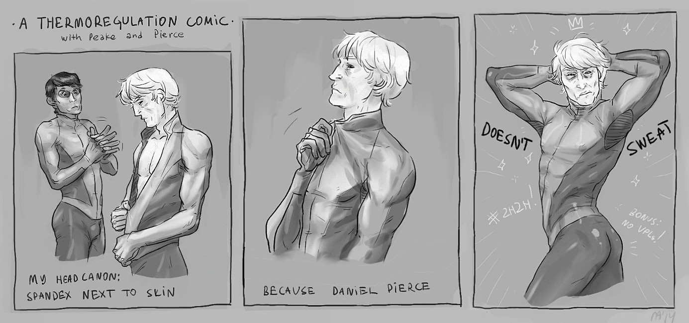 nwm nowhere men fanart daniel pierce dan abnormal jackson jack peake superhero team comic strip silly commando under spandex suit